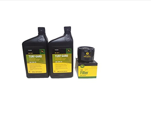 John Deere 2 Quarts Turf-Gard SAE 10W-30 Oil Plus AM125424 Filter. Fits Many Lawn Mowers - Check Description