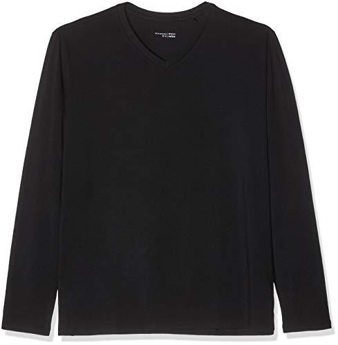 Schiesser Herren Mix & Relax Langarmshirt V-Ausschnitt Schlafanzugoberteil, Schwarz (Schwarz 000), X-Large (Herstellergröße: 054)