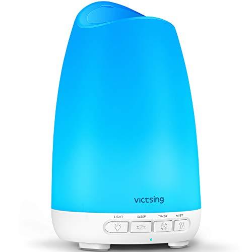 VicTsing 150ml Difusor de Aromas, Ultra silencioso (21dB) Humidificador Aceites Esenciales, Difusor de Aceites Esenciales sin BPA, Difusor Aceites Esenciales Ultrasonico con LED de 8 Colores - Blanco