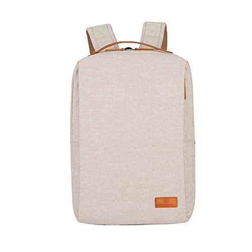 Nordace - Smart Backpack - Siena Rucksack 19L-Vol. Laptop-Fach USB-Anschluss wasserbeständig Gew:0,88kg Gepäckriemen Sicherheitstasche Wasserflaschenfach schlankes Design (Beige)