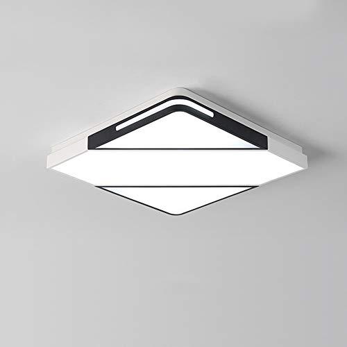 Moderne led-plafondlamp, eenvoudige plafondlamp, 42 W, woonkamer, plafondlamp met afstandsbediening, dimbaar, creatief, vierkant, plafondlamp van metaal, acryl, lampenkap binnen, 40 cm × 40 cm × 8 cm, zwart + wit