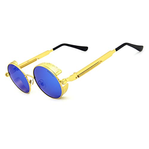 Ronsou Steampunk Style Round Vintage Polarized Sunglasses Retro Eyewear UV400 Protection Matel Frame golden frame/blue lens