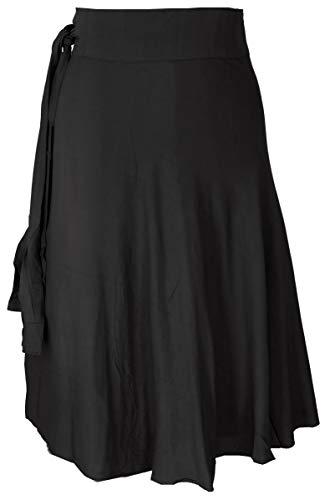 GURU SHOP Leichter Wickelrock, Sommerrock, Damen, Schwarz, Synthetisch, Size:One Size, Röcke/Kurz Alternative Bekleidung