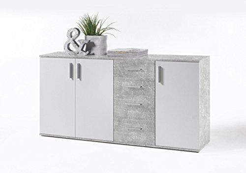 Stella Trading Sideboard Weiß Beton Dekor, Kommode mit Schubladen, BxHxT 160 x 82 x 35 cm