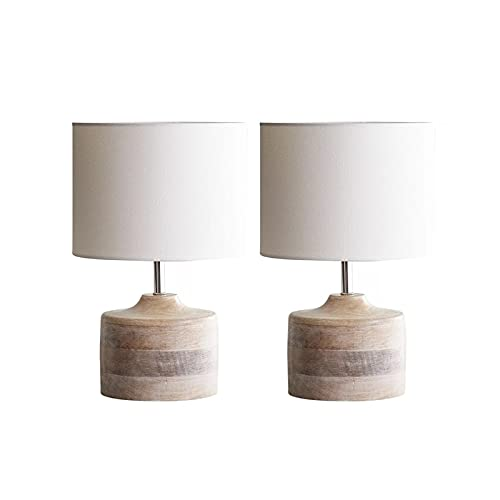 Table lamp Table Lamp Wood Nightstand Lamp with Fabric Shade Bedside Desk Lamps for Living Room Family Bedroom Nightstand Desk lamp (Quantity : 2, Size : Small)