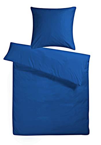 Carpe Sonno einfarbig Marine-Blaue Mako Satin Bettwäsche 135 x 200 cm -...
