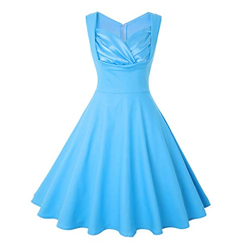KUKICAT Damen's V-Ausschnitt Solid Vintage Style Retro Rockabilly Abendkleider Retro PartykleiderSchwingen Kleid