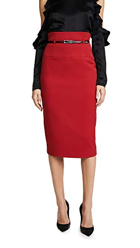 Black Halo Women's High Waisted Pencil Skirt, Red, 10