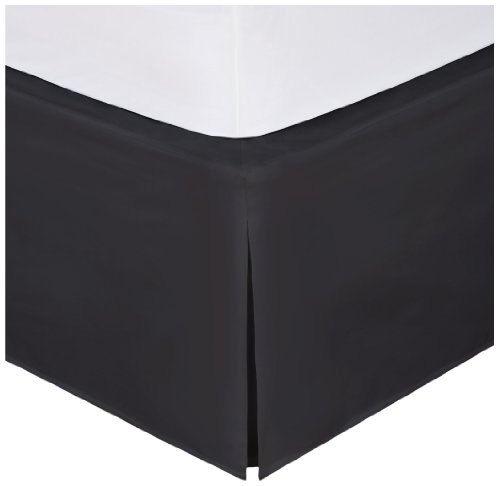 "Magic Skirt Tailored Bedskirt, Never Lift Your Mattress, Classic 14"" drop length, Pleated Styling, Queen, Black"