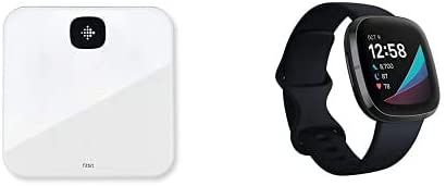 Fitbit sense negro + báscula inteligente Fitbit Aria blanca