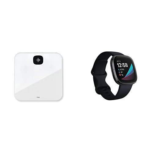 Fitbit Sense - fortschrittliche Gesundheits-Smartwatch mit Tools für Herzgesundheit, Stressmanagement & zur Anzeige von Hauttemperatur-Trends, Carbon + Air Intelligente Waage, weiß