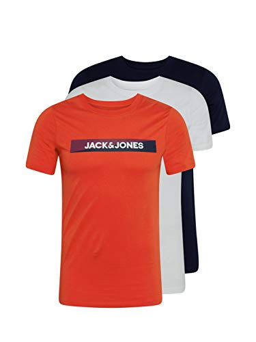Jack & Jones JACTREVOR tee SS 3 Pack Camiseta, Fiesta/Detalles: Blanco – Azul Marino, XL para Hombre