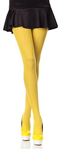 Merry Style Blickdichte Damen Strumpfhose Microfaser 70 DEN (Gelb, 5 (44-48))