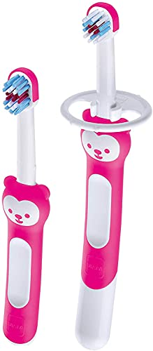 MAM Learn to Brush Set de cepillo de dientes para bebé con mango largo para sujetar juntos, cepillo de dientes para niños que entrena el cepillado de los dientes, a partir de 6 meses, color rosa