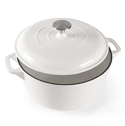 Kochchef Gusseisen Schmortopf mit Deckel rund   Durchmesser: 25 cm   Induktion   Bräter ist backofengeeignet bis max. 200°   Fassungsvolumen: 3,7 Liter   Gewicht: ca. 4,7 kg