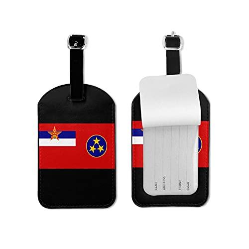 Yugoslavia Etiquetas de equipaje de microfibra de cuero personalizado maleta Tag Set Etiquetas de identificación de equipaje Accesorios de viaje Microfibra PU Cuero 2.7 x 4.3 pulgadas