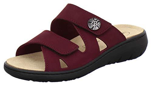 AFS-Schuhe 2808, komfortable Damen-Pantoletten aus Leder, praktische Arbeitsschuhe mit Wechselfußbett, Bequeme Hausschuhe (39 EU, Rot/Beere)
