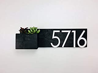 House Number Planter, Address Planter, Address Plaque Modern, Address Plaque with Planter, House Numbers, House Number Sign, planter, plants