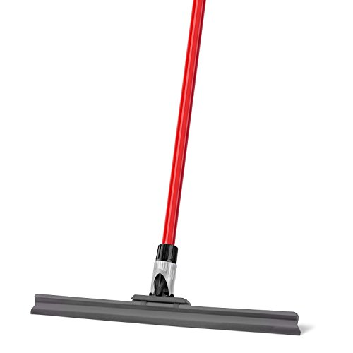 Floor Squeegee by Ravmag- Uber Durable Silicone Blade- Adjustable Knuckle Joint- Perfect for Wood Tile Marble Concrete & Glass - 58-inch Long Handle - Lightweight Design (17 Inch)