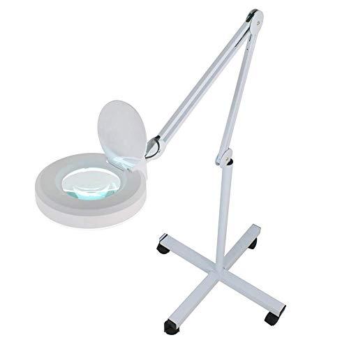 Vergrootglas lamp met voet, loep lamp dimbaar met koud licht, werklamp cosmeticalamp geschikt voor cosmeticasalons praktijken, knutselhulp, rolstatief, 3,5/5/8 dioptrie-lens, 8D