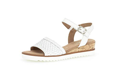 Gabor Sandalias de cuña para mujer, tallas moderadas, color Blanco, talla 39 EU