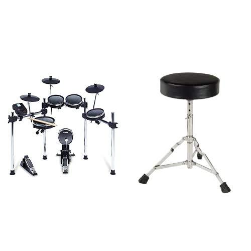Alesis Surge Mesh Kit - Achtteiliges Mesh-E-Drum-Set mit Drumsticks, 385 elektronischen/akustischen Schlagzeug-Sounds und 60 Play Tracks & XDrum Schlagzeughocker Semi (Höhenverstellbar 50-64cm)