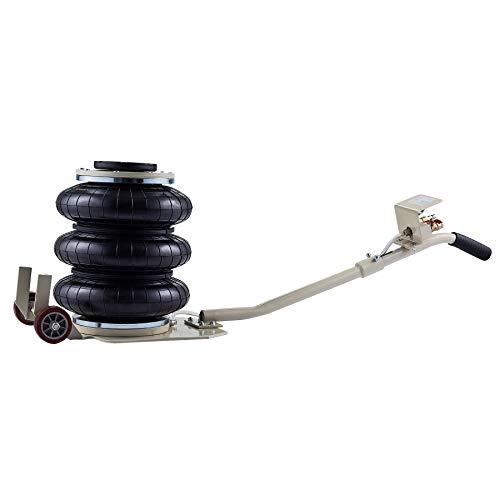 Orion Motor Tech Gato Neumático de 3 Bolsas Capacidad de 3 Toneladas 6600lbs Gato Neumático para Automóvil Altura de Elevación de 400mm 15.7 Pulgadas Pneumatic Jack (3T)