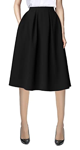 Urban CoCo Women's Flared A line Pocket Skirt High Waist Pleated Midi Skirt (L, Black)