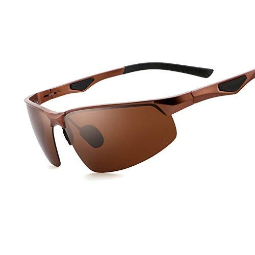 Gafas de Sol polarizadas para Hombres y Mujeres, Marco Poligonal, Lente Anti-Ultravioleta, Pesca de conducción Gafas al Aire Libre, Plata Negra marrón Azul (Color : Brown)