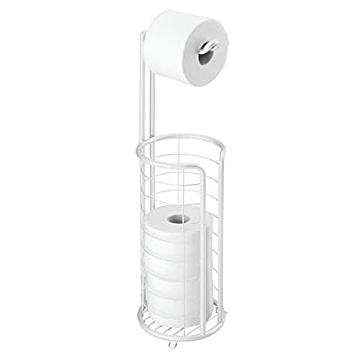 mDesign Metal Toilet Paper Holder Stand and Dispenser, Holds 4 Rolls