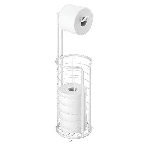 mDesign freistehender Klopapierhalter für das Bad oder Gäste-WC – Toilettenpapierhalter stehend aus Metall – Papierrollenhalter mit Aufbewahrung für 3 Ersatzrollen – weiß