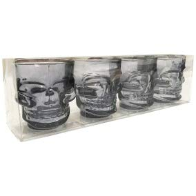 4 Copos Dose Caveira Shot Vodka Tequila Preto