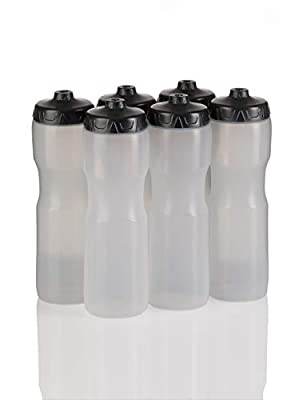 50 Strong Brand Jet Stream Sports Squeeze Water Bottle with One-Way Valve - Team Pack – Set of 6 Leak Proof Squirt Waterbottles - 28 Ounces -Perfect for Bikes - Made in USA (Clear)