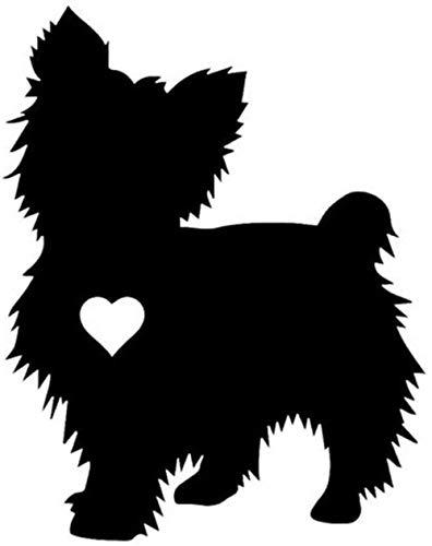 WYG Pegatinas para coche, 2 unidades, diseño de corazón de Yorkshire Terrier, 10 x 12,6 cm, color negro