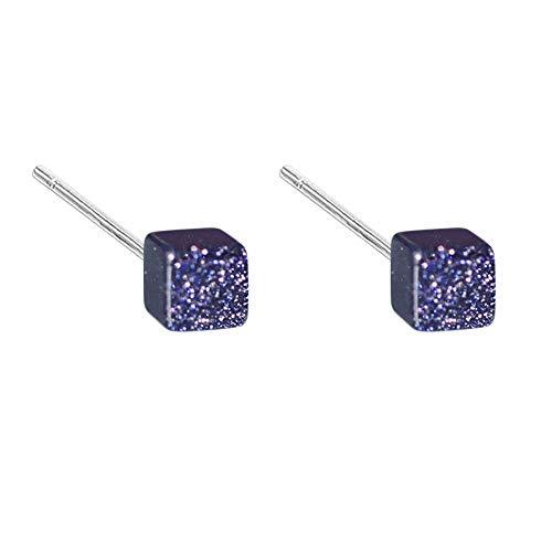 QIYUEQI Damen Schmuck Frau S925 reine Silber Blau Sandstein Fliesen Ohrringe Der Ohrring Der Ohrstecker Ohrclip Ohrhnger