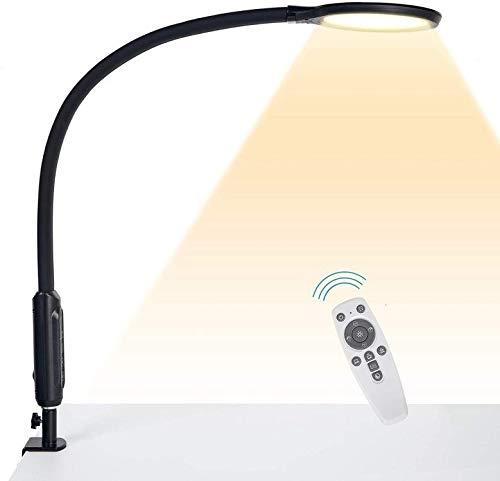 Hokone Lámpara de Escritorio LED Lámpara de Abrazadera de cuello de cisne Lámpara de Arquitecto de brazo giratorio que atenúa, Lámpara de Mesa de oficina con control táctil, 18 W