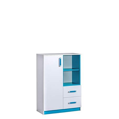 Furniture24 Kommode TRAFIKO 06 mit 2 Schubladen und Tür, Highboard, Sideboard, Mehrzweckschrank für Jugend und Kinderzimmer (Weiß/Türkis)