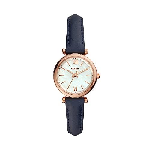 Reloj para mujer FOSSIL Carlie Mini, tamaño de caja de 28 mm, movimiento de tres manecillas, correa de piel
