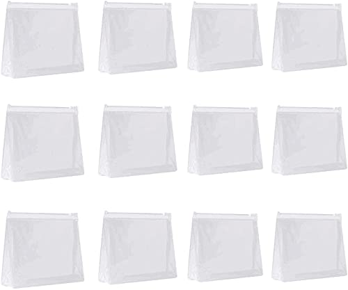 12 bolsas pequeñas de plástico transparente de PVC con cierre de cremallera para viajes de vacaciones, baño y organización bolsa de maquillaje impermeable