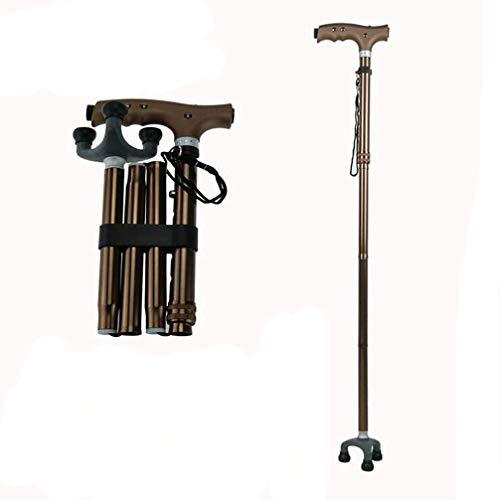 ACZZ Bastone da passeggio multifunzionale per anziani, bastone da passeggio antiscivolo con cinque massaggi retrattili e leggeri