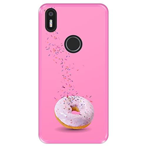 Hapdey Funda Rosa para [ Bq Aquaris X5 Plus ] diseño [ Donut, Sabor a Fresa ] Carcasa Silicona Flexible TPU
