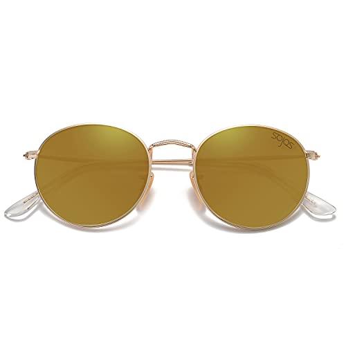 SOJOS Occhiali da Sole da Uomo e Donna Polarizzati Rotondi Vintage Retro Specchiati Protezione UV SJ1014 Con Oro Telaio/Oro Lente