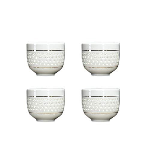 Chinashow Ensemble de 4 Tasses à thé en céramique de Style Chinois/Japonais créatives évider Vintage Tasses à thé Weiß