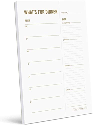 """Two Tumbleweeds Weekly Meal Planner Notepad - 6 x 9"""" - """"What's for Dinner?"""" Magnetic Meal Planning Pad with Tear Off Grocery Shopping List for Fridge, Kitchen & Home - 50 Sheets"""