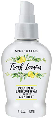 Smells Begone Essential Oil Air Freshener Bathroom Spray - Eliminates, Neutralizes and Purifies Air & Toilet Odors - Made with 100% Pure Essential Oils - 4 Ounces (Fresh Lemon)