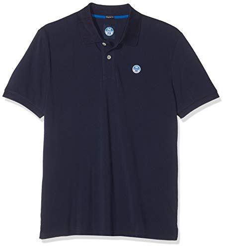 NORTH SAILS Uomo Polo piqué in Blu Marino 100% Cotone Collo Classico con Abbottonatura e Toppa con Logo Applique - S