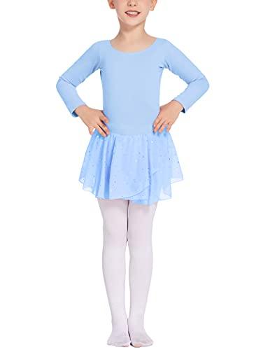 Balancora Balletttrikot Mädchen Ballett Ballettkleidung Mädchen 120 Ballettkleid Baumwolle Hellblau,120