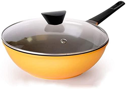 TINGFENG Wok Sartén para el hogar Sartén antiadherente Horno seguro Caja fuerte y saludable Gigante Wok Cookware No hay humo de aceite (Color : Yellow)