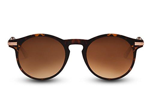 Cheapass Gafas de Sol Cafes Animal Print Redondas Gafas Ventage Protección UV400 Mujer Hombre