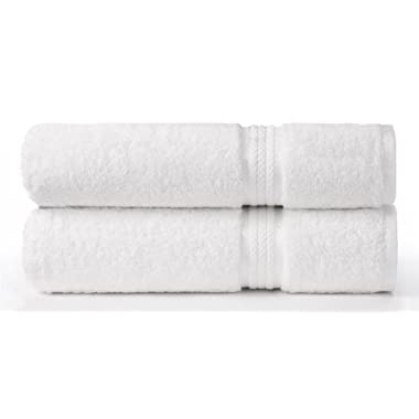 Cotton Craft - 2 Pack Ultra Soft Oversized Extra Large Bath Sheet 35x70 White - Weighs 33 Ounces - 100% Pure Ringspun Cotton - Luxurious Rayon trim - Ideal for everyday use - Easy care machine wash